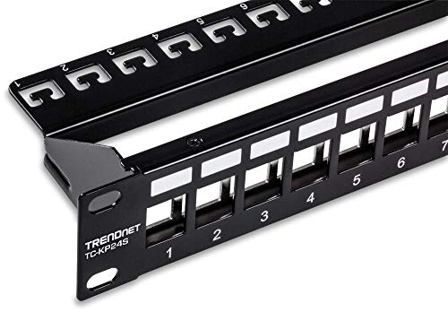 TRENDnet 24-Port Blank Keystone Shielded 1U Patch Panel, TC-KP24S, 1U 19