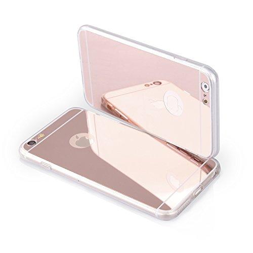 Handy Silikon Hülle TPU Back Case Schutzhülle transparent 'Mirror pink' für 'Apple Iphone 6s' Cover Schale Tasche Bumper