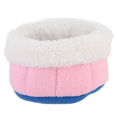 HEEPDD Beddengoed-kussen voor hamster, nestje, badstof, Macedonië zacht, flanel ketting, kooi, hamster, pluche, mand, huis, schattig, eekhoornje, winter, warm, bed, accessoires, Baby roze