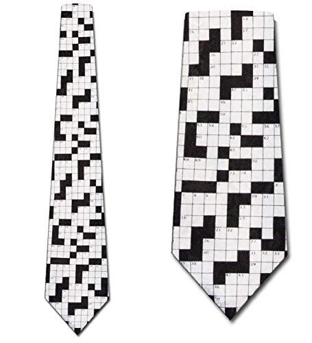 WILHJGH Herren Kreuzworträtsel Krawatte Spaß Krawatten In Schwarz