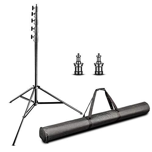 Walimex Pro Lampenstativ Jumbo AIR 600cm (Aluminium, Arbeitshöhe 150 bis 600 cm, 5 luftgefederte Segmente mit 45, 40, 36, 32, 28 mm Durchmesser, max. Belastbarkeit 22,5 kg, mit Tasche)