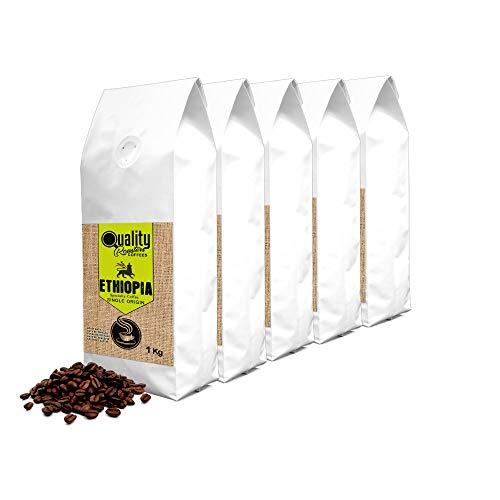 Quality Roasters Coffees. Spezialität geröstete Kaffeebohnen. Einziger Ursprung Äthiopien Sidamo. Packung 5 Kg. Prozess: Gewaschen. Mittelstark geröstet. Handwerkliche Röstung. 5 x 1 kg