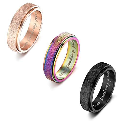 Milacolato 3 Pcs Stainless Steel Spinner Ring for Women Mens Fidget Band Cool Rings 6MM Relax Wide Wedding Promise Rings Set(Size J 1/2-X 1/2)