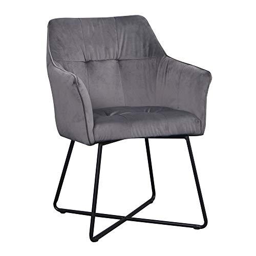 DuNord Design stoel eetkamerstoel grijs met armleuningen industrieel design keukenstoel beklede stoel