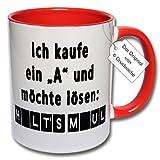 Lustige Tasse, Kaffeetasse mit Spruch 'Ich kaufe ein A und möchte lösen Halt's Maul' Spruchtasse Geschenk Büro (Rot)