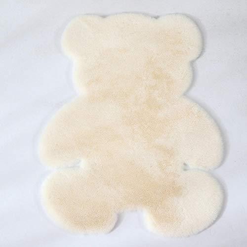 Plush carpet, Cartoon Animal Bear Shaped Carpet, Modern Thick Fluffy Soft Shaggy Carpet for Indoor Floor Sofa Chair Bedroom Living Room Home Decoration-creamy-white_45 X 60 cm