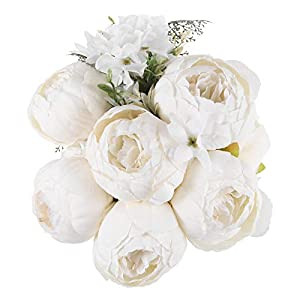 TYMG Home Vintage Artificial Peony Silk Flowers Bouquet Home Wedding Decoration (Spring Milk White)