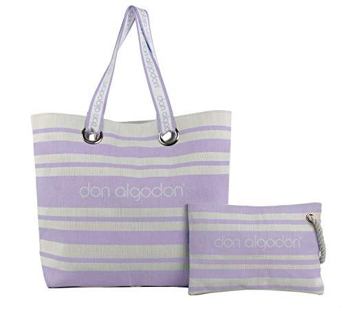 Don algodón, Capazo playa y bolso de mano Beach Edition para Mujer, Lila, 38x49x16 cm