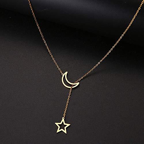 YQMR Colgante Collar para Mujer,Señoras Elegante Colgante Collar Grabado Hueco Dorado Luna Estrella Colgante Encanto Joyería Moda Regalo para Parejas Cumpleaños Amistad Familia