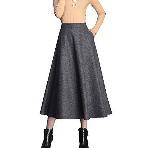 Falda Cintura Alta Columpio Grande para Mujer Otoño E Invierno Color Sólido Peludo Larga Media A-Palabra Falda,M-4XL Grey-XL