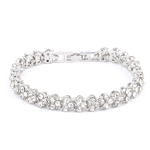 Clearance Sale!Funic New Fashion Roman Style Womans Crystal Diamond Bracelets Gifts (Silver)