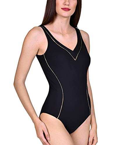 Lisca 43445-02 Women's Ancona Black Padded Non-Wired Shaping Swimsuit 48E