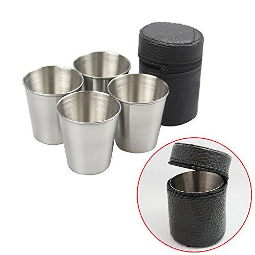 HINMAY Lot de 4 mini tasses en acier inoxydable 70 ml