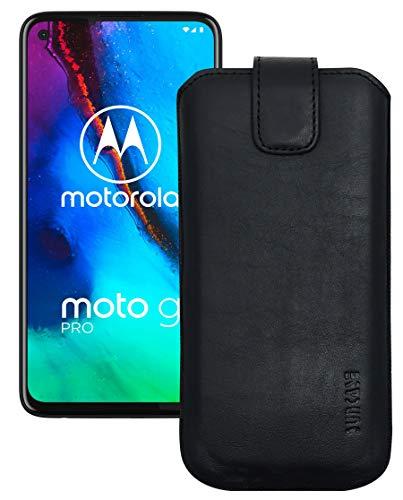 Suncase Leder Tasche kompatibel mit Motorola Moto G Pro Hülle mit ZUSÄTZLICHER Transparent Hülle   Schale   Silikon Bumper Handytasche (mit Rückzugsfunktion & Magnetverschluss) in schwarz