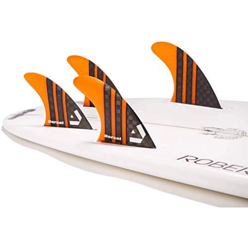 DORSAL Surfboard Fins Carbon Hexcore Quad Set (4) Honeycomb FUT Base Orange