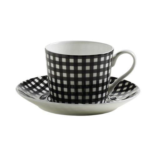 Maxwell & Williams S84005 Art Deco Tasse mit Untertasse, Kaffeetasse, Glencheck, in Geschenkbox, Porzellan