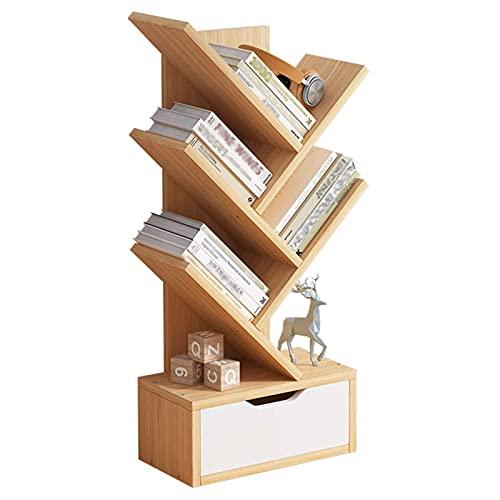 GSTTRS Librería para CD, Librería De Pie con 4 Niveles para Libros Y Revistas En CD, Librería De Madera, Librería De Pie En Forma De árbol De Bambú Librería Independiente (Wood Color+Drawer)