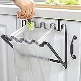 LANGUGU Stainless Steel Foldable Trash Rack Garbage Bag Holder Door Back Type Multi-Functional for Kitchen Hook Hang Dishcloth, Mounts Over Cabinet Doors Cupboards Frame