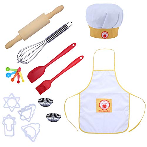 CHEERU Kids Baking and Cooking Set Real Baking Tools for Boys&Girls-21Pcs Include Chef Apron and Hat Baking Utensil for Toddler Dress up Role Play