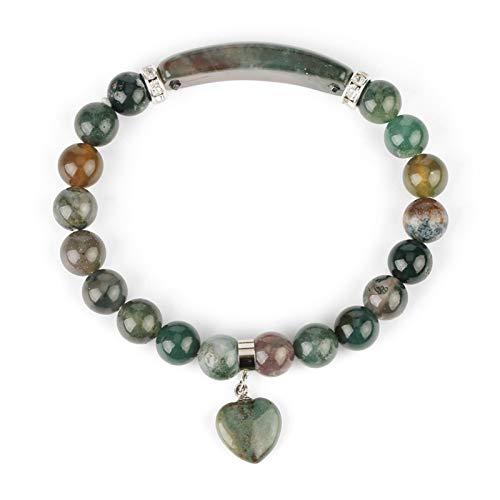 DERFX Piedra Natural Indio ónix Pulsera rectángulo Bar corazón encantos circón brazaletes brazaletes Brazalete Brazalete Accesorios