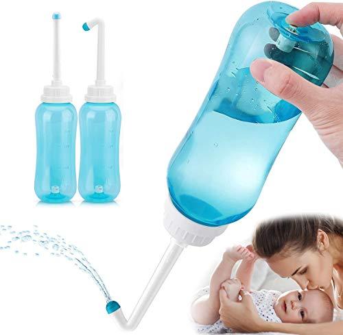 BIGMALL Peri Flasche 500Ml Für Die Nachsorge, Tragbares Reisebidet Für Babys, Frauen Oder Bettlägerige Patienten Mit 2 Düsen Für Unterschiedliche Bedürfnisse