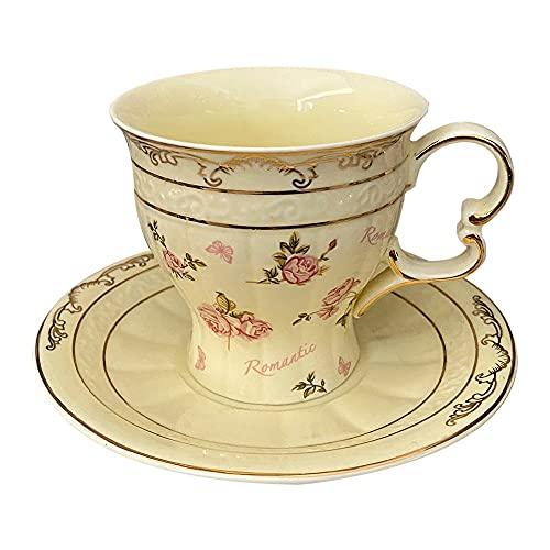 XDYNJYNL Estilo Chino 6.42oz / Taza de Porcelana de 190ml, y platillos Set Eco-Friendly Coffee Tazas Taza de té con Mango Aislado Beber Gafas Highball de cerámica Recta Grande para té Capuchino