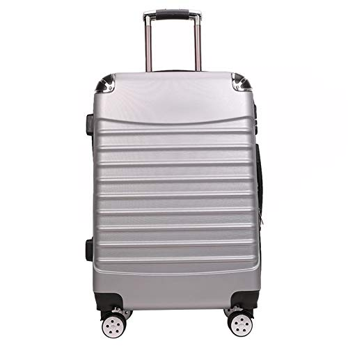 Adlereyire Trolley Suitcase Lightweight Durable Carry On Cabin Hand Luggage Set, Travel Bag with 4 Wheels (Color : Silver, Size : 40 * 24 * 65cm)