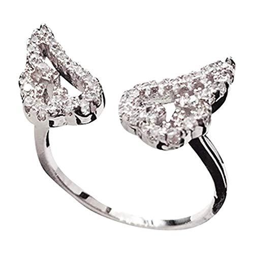 Anillo de dedo ajustable con alas de ángel de la guarda para mujeres y niñas