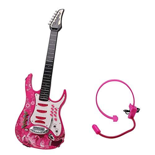 MRKE Guitarra Electrica Niños 6 Cuerdas Rock Juguete de Instrumentos Musicales con Auriculares y Correa de Guitarra para Infantil Niño y Niña 3-8 Años (Rosado)