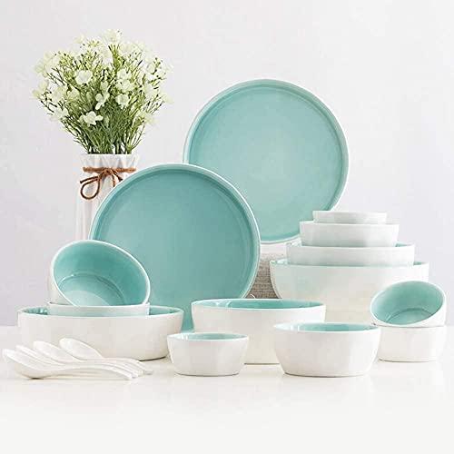 Sistema de vajillas de cerámica, Placas/Cuencos/Plato de 18 Piezas, vajilla nórdica de Porcelana, Juego de combinación de Porcelana, Servicio de Restaurante para 4 Personas