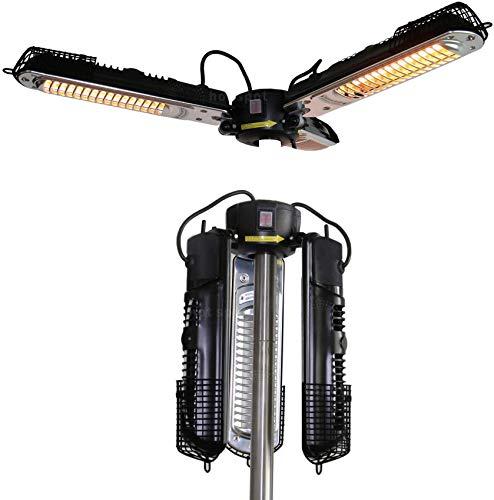 zyl Calentador de sombrilla eléctrico para Patio Calentador de Espacio infrarrojo eléctrico Plegable para Exteriores 3 Tipos de regulación de Calor protección contra fallas de energía Enchufe y