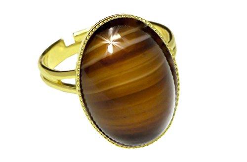 Rings 24K Vergoldete Klassischer Universal Einstellbare Größe Oval 18mm x 13mm Braun Gestreifte Achat Tschechische Glas-Stein Handmade BohemStyle