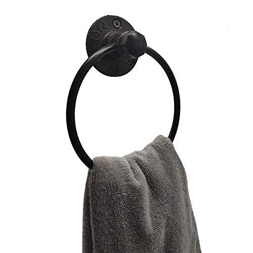 LIKE99 Retro una toalla industrial anillo rústico tubo toalla mano titular montado en la pared para baño