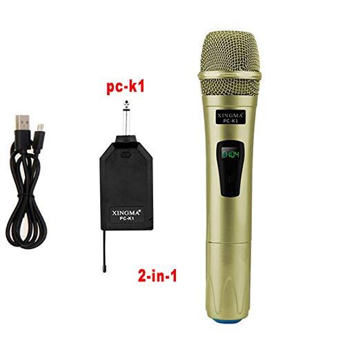JVCAN Draadloze microfoon Professionele handheld 2 kanalen, Studio Dual VHF dynamische microfoon voor karaokesysteem Computer KTV