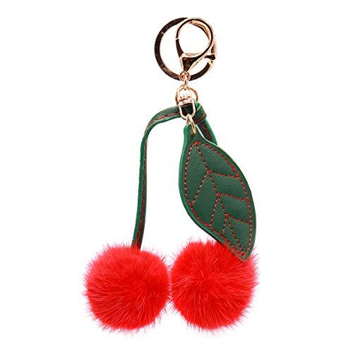 Surell - Genuine Mink Fur Cherry Keychain - Cute Classic Foodie Pompom Fob Kawaii Accessory with Keyring- Fur Fluffy Ball Key Chain - Cute Round Fuzzy Plush Bag Charm - Adorable Gift (Red)