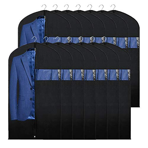 Syeeiex Suit Bags for Closet 14-Pack 40' Breathable Dustproof Clothes Storage Covers with Clear Window for Dress Suit Tuxedo Carrier