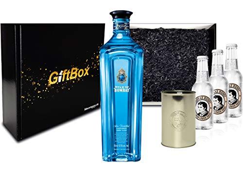 Gin Tonic Set Giftbox Geschenkset - Star of Bombay Slow Distilled London Dry Gin 0,7l (47,5% Vol) + 3x Thomas Henry Elderflower Tonic 200ml inkl. Pfand MEHRWEG + Becher -[Enthält Sulfite]