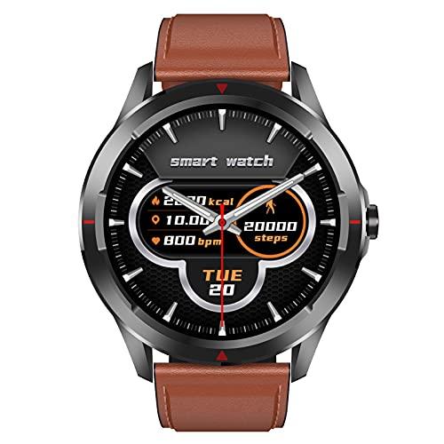 HQPCAHL Hombre Smartwatch Relojes Inteligentes, Fitness Reloj Deportivo con Pulsómetro, Monitor de Sueño 1.28'', Reloj Deportivo con Podómetro Pulsera Actividad Inteligente para Android iOS,Marrón
