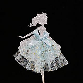 15 pieces Girl Dress Ballet Ballerina Tutu Dress Girls Dessert Muffin Cupcake Toppers for Picnic Wedding Baby Shower Birthday Party (Silver)