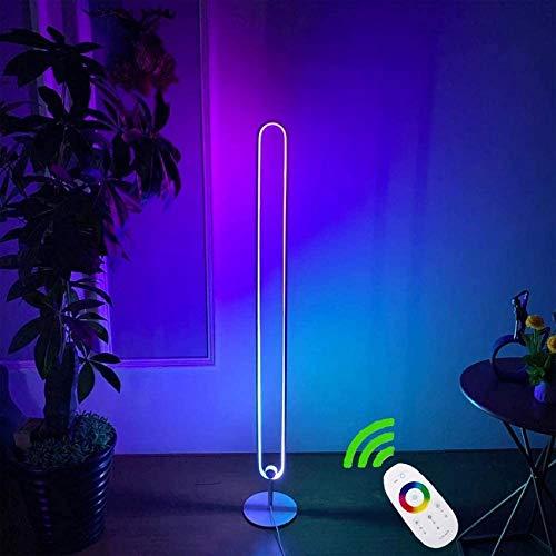 SAFGH Lámpara de pie LED, Cambio de Color RGB, Blanco cálido, Blanco frío, Moderno, luz de pie de Esquina Regulable con Control Remoto para Dormitorio, Sala de Estar, Estudio, decoración