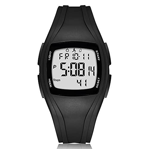 Read, orologio digitale sportivo, contapassi, pedometro, 3D, per attività all'aperto, digitale, impermeabile, con conto alla rovescia, cronometro, allarme con retroilluminazione a LED (nero/bianco)
