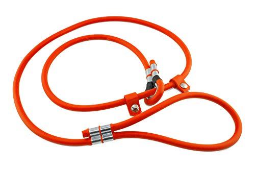 LENNIE BioThane Retrieverleine, rund, Ø 6mm, 2m lang, mit Handschlaufe, Neon-Orange, Moxonleine