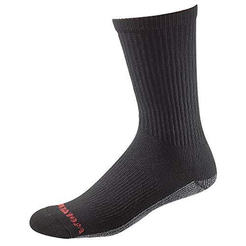 Wolverine Men's Comfort Cotton Steel Toe Crew 6-Pack Socks, Black