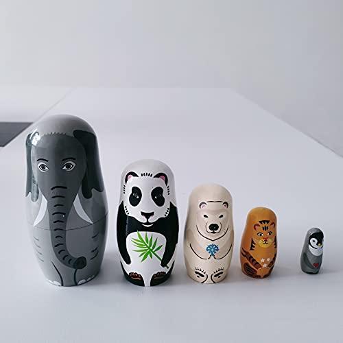 5 Capas de Muñecas Rusas Matryoshka, Clásica Rusa Matryoshka de Madera, Muñecas de Madera para Anidar Animales, para Fiesta, Festival, Sala de Estar, Decoración de Dormitorio