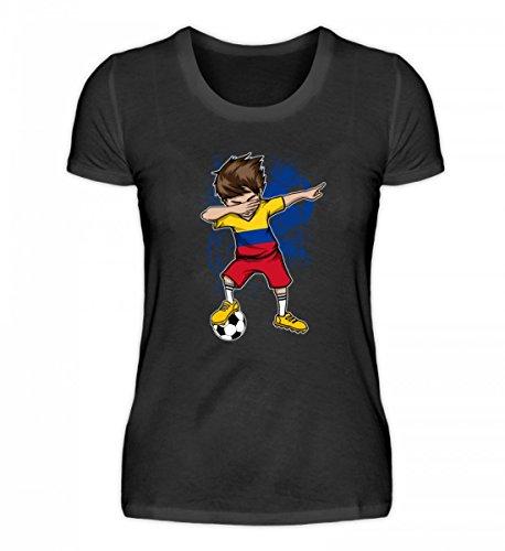 EBENBLATT Hochwertiges Damenshirt - Dabbender Fussballer Junge - Kolumbien/Fußball Trikot/Nationalmannschaft/Geschenk WM