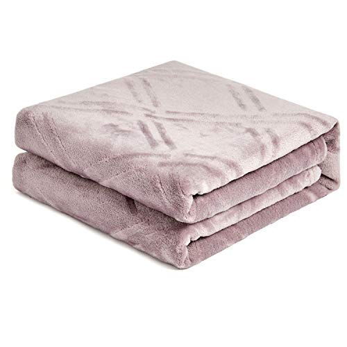 HT&PJ Super Soft Lightweight Flannel Fleece Throw Blanket Microfiber Velvet Cozy Warm Throw Blanket for Living Room (Light Purple,(Throw50 X 60'))