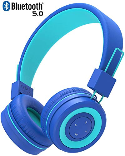 iClever Bluetooth Kinder Kopfhörer, Kopfhörer für Kinder mit MIC, Lautstärkeregler, Verstellbares Stirnband, Faltbar, Kinderkopfhörer am Ohr für iPad Tablett Schule