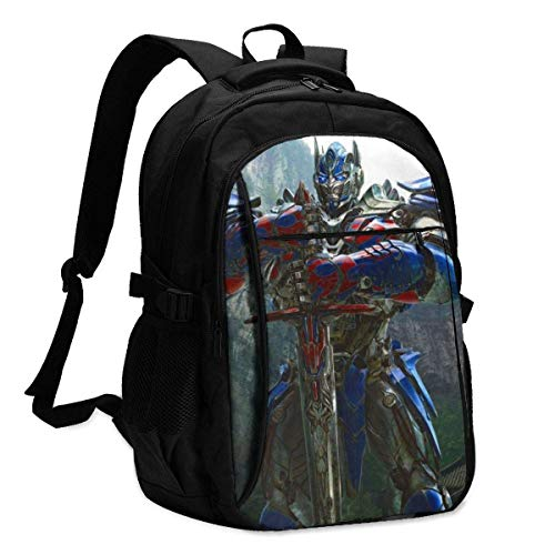 Transformers Optimus Prime Rucksack Travel Laptop Backpack with USB-Ladeanschluss Kopfhörerschnittstelle College Bookbag für Frauen Männer Jungen Business Travel Anti Theft Backpack
