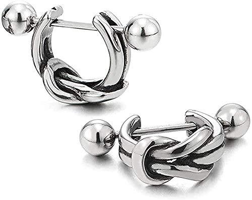 ZGYFJCH Co.,ltd Collar de Moda Huggie Vintage Pendientes Plegables de Nudo semicírculo de Acero Inoxidable para Hombres, Mujeres, niños, niños, 2 Piezas (CA)