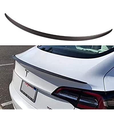 Topfit for Tesla Model Y Spoiler REAL Carbon Fiber Trunk Wing Performance Spoiler REAL Rear Lip Lid Fit for Model Y (Matte Carbon Fiber)